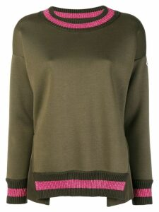 Moncler lurex stripe trim sweater - Green