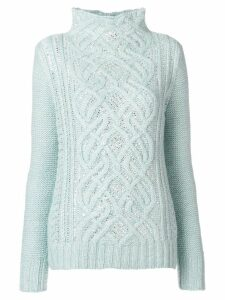 Ermanno Scervino high neck knit sweater - Blue