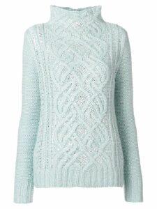 Ermanno Scervino high neck knit sweater - Blue