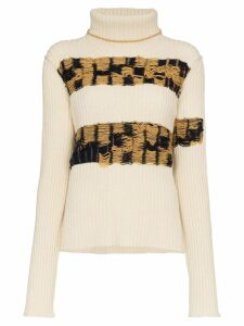 Calvin Klein 205W39nyc embroidered lambswool turtleneck jumper - White