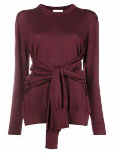 Chloé round neck tied waist jumper - Red