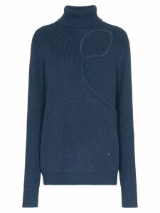 Esteban Cortazar silk chest cut out turtle neck jumper - Blue