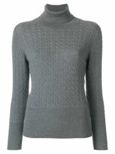 Thom Browne Baby Cable Fine Merino Turtleneck - Grey