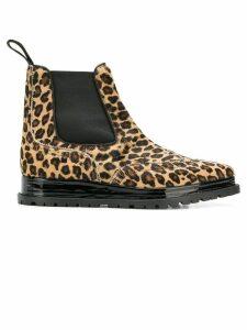 Sacai leopard print chelsea boots - Black