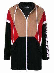 Love Moschino zipped logo hoodie - Black