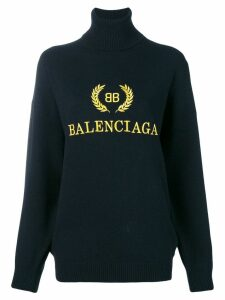 Balenciaga logo embroidered turtleneck sweater - Black