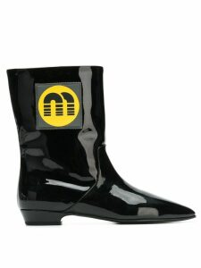 Miu Miu logo patch ankle boots - Black