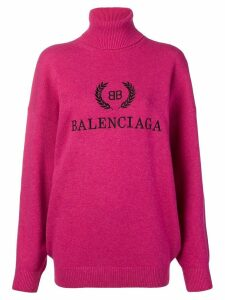 Balenciaga logo turtleneck sweater - PINK