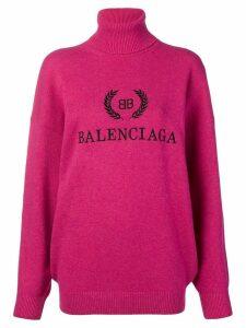 Balenciaga logo turtleneck sweater - PINK