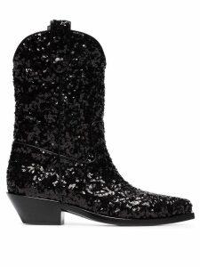Dolce & Gabbana Gaucho 40 Sequined Cowboy Boots - Black
