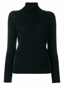 Thom Browne Baby Cable Turtleneck In Fine Merino Wool - Blue