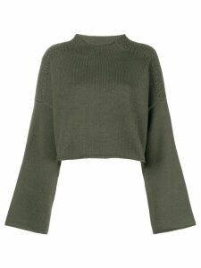 JW Anderson loose cropped knit sweater - Green