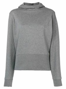 Closed hooded fitted sweater - Grey