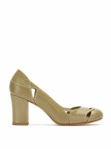 Sarah Chofakian Bruxelas perforated leather pumps - Green