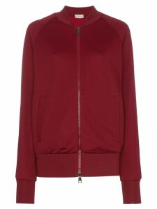 Moncler logo detail and stripe sleeve cotton-blend sweater - Red