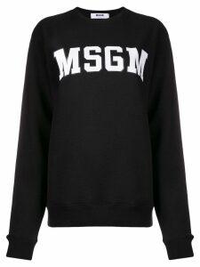 MSGM logo patch sweater - Black