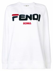 Fendi embroidered logo sweatshirt - White
