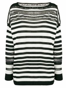 Ermanno Scervino striped sheer detail sweater - Black