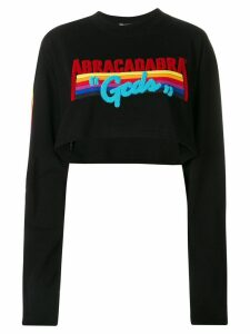 Gcds cropped slogan sweater - Black