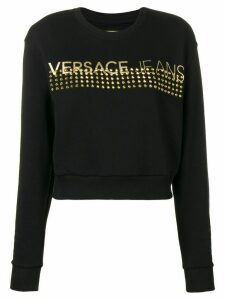 Versace Jeans Couture studded logo longsleeve top - Black