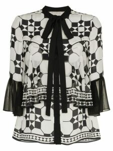 Mary Katrantzou silk milana tie bell top - Black