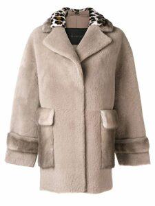 Blancha leopard trim coat - Neutrals