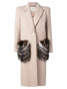 Fendi fur pocket single breasted coat - Neutrals