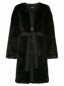 Goen.J single-breasted belted coat - Black