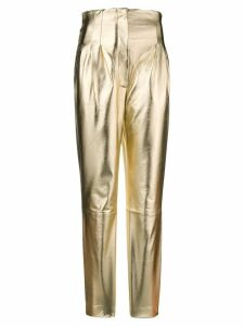 Alberta Ferretti high waisted slim fit trousers - Metallic