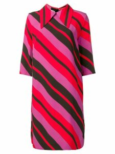 Marni striped pointed collar dress - Red