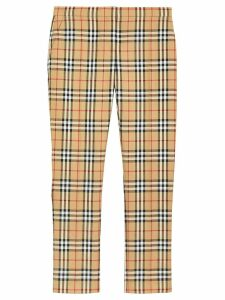 Burberry Vintage Check Wool Cigarette Trousers - Yellow