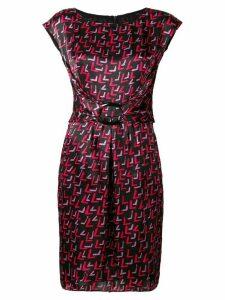 Emporio Armani geometric printed buckle dress - Black