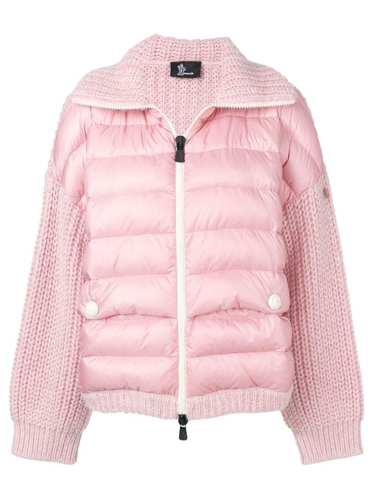 Moncler Grenoble contrast knit padded jacket - Pink & Purple