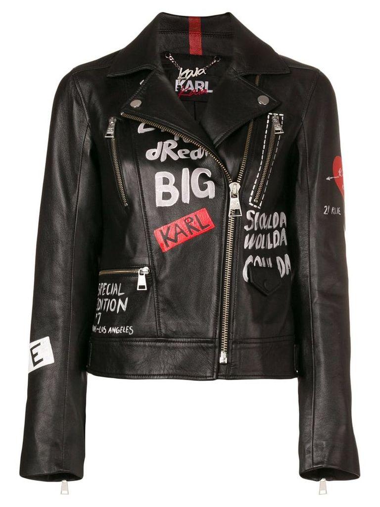 Karl Lagerfeld printed biker jacket - Black