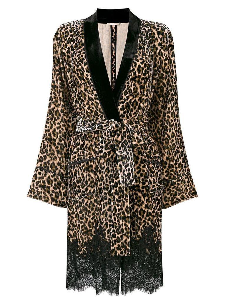 Gold Hawk leopard print velvet jacket - Brown