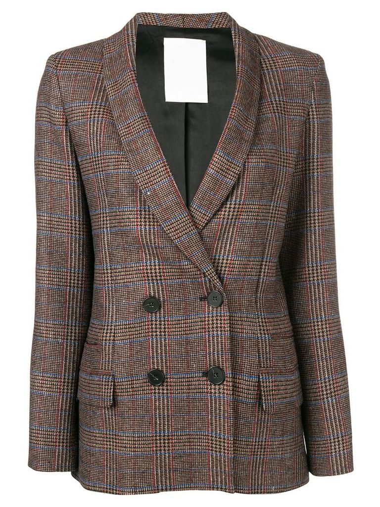 Pinko plaid double breasted jacket - Brown