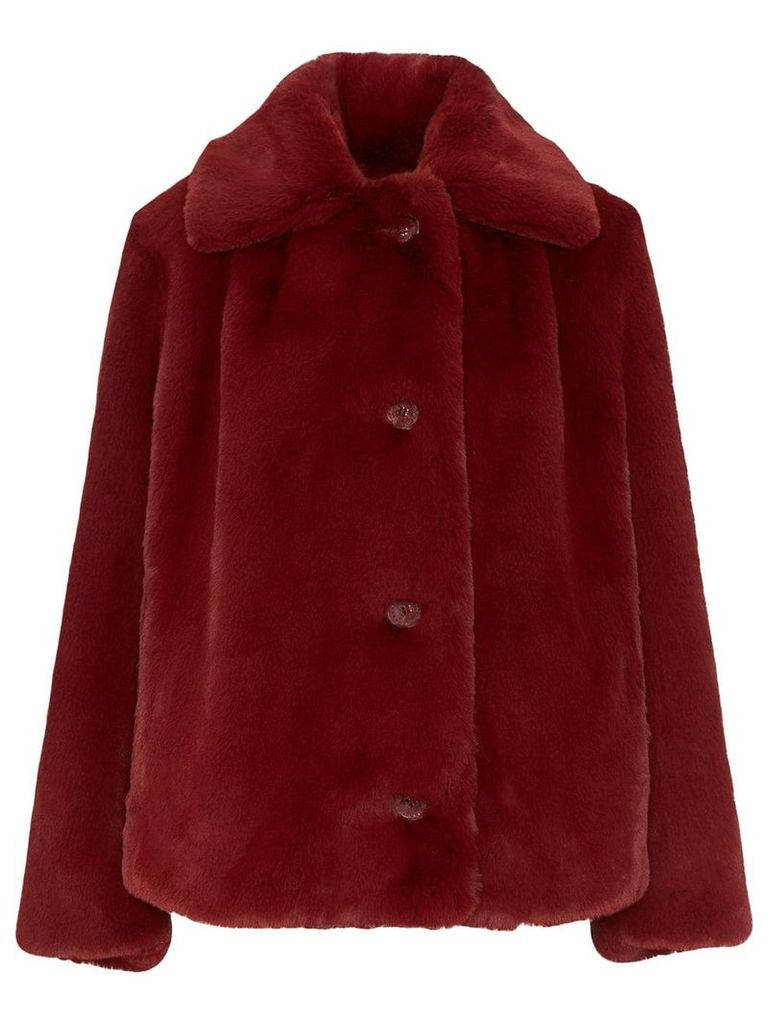 Burberry Faux Fur Single-Breasted Jacket - Red