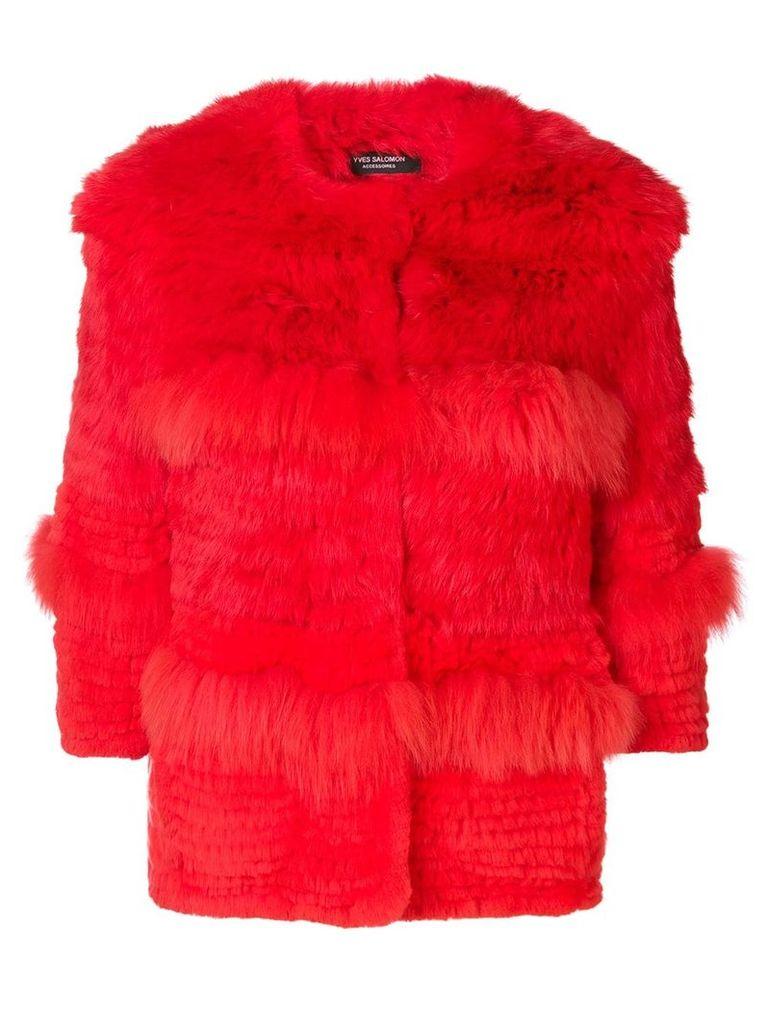 Yves Salomon cropped fur jacket - Red