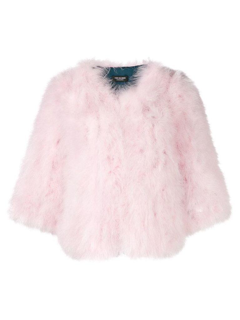 Yves Salomon collarless jacket - Pink & Purple
