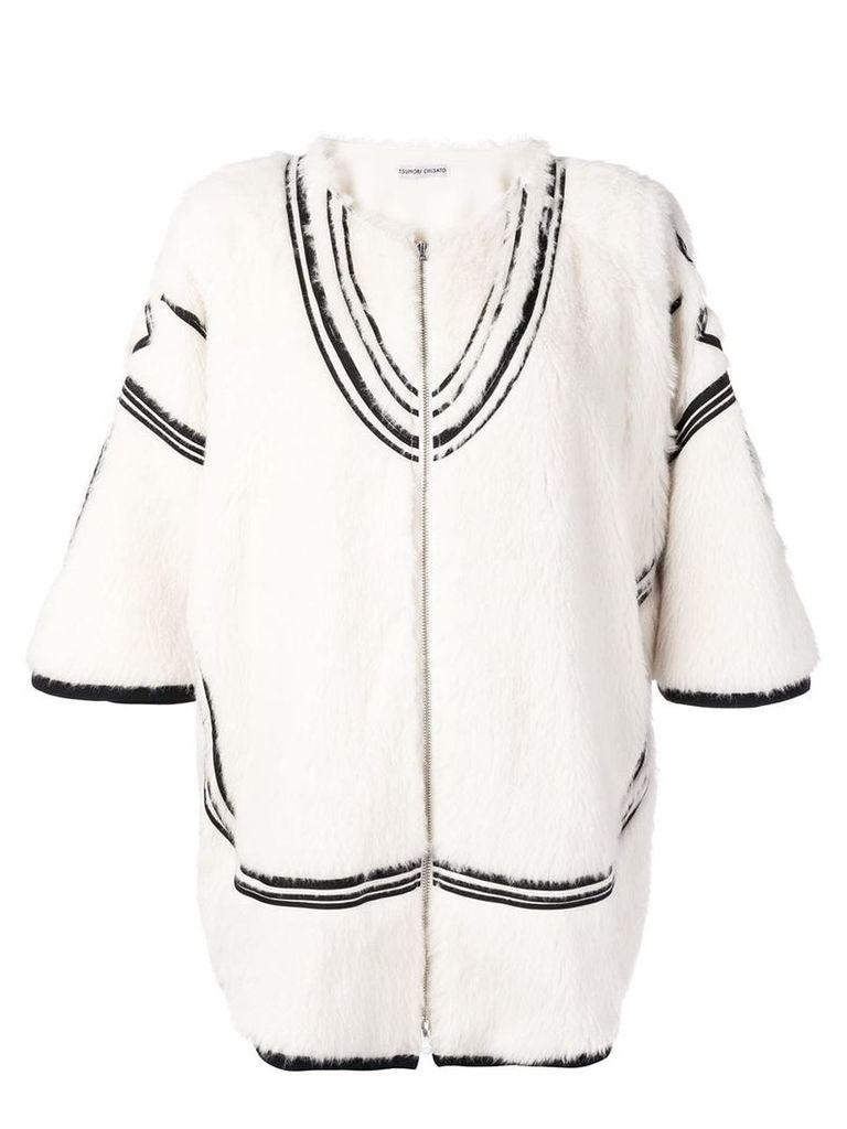 Tsumori Chisato contrast embroidery zipped jacket - White