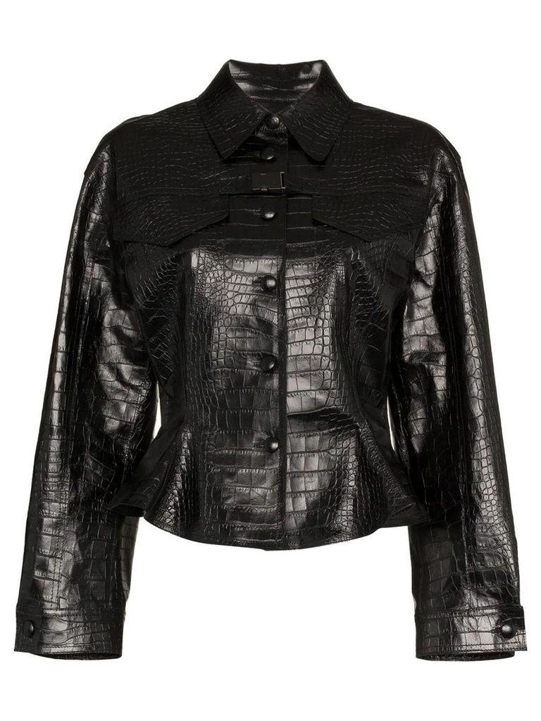 Off-White Cropped Leather Jacket - Black