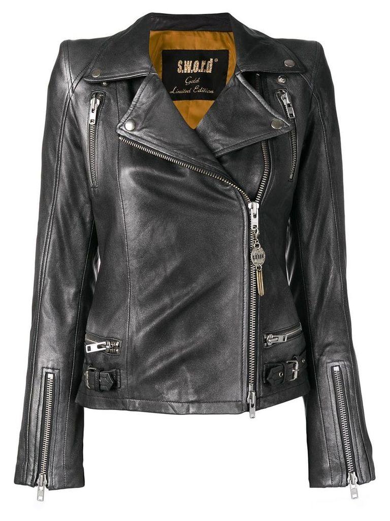 S.W.O.R.D 6.6.44 slim biker jacket - Grey