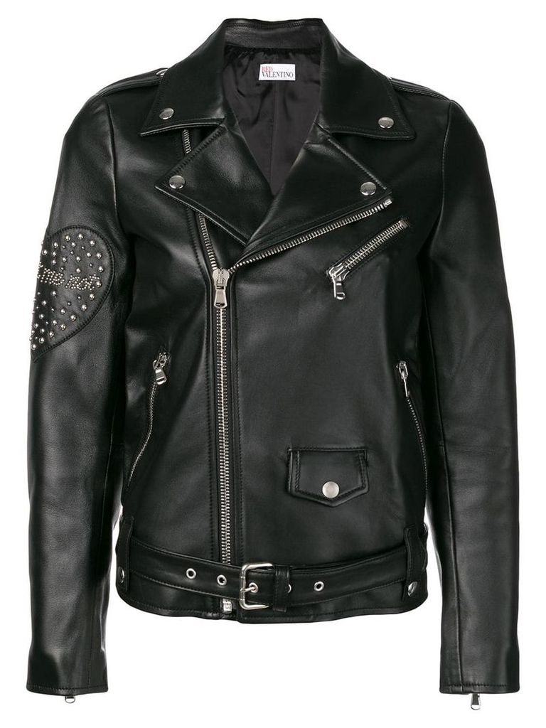 Red Valentino zipped fitted biker jacket - Black