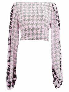 Natasha Zinko houndstooth cropped blouse - Pink