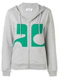 Courrèges logo zipped hoodie - Grey