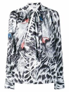 MSGM animal print blouse - Blue