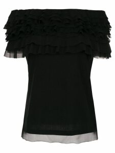 Gloria Coelho ruffled tulle blouse - Black