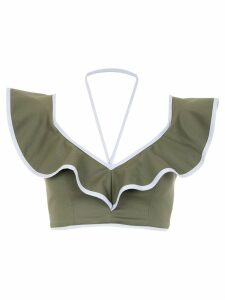 Framed Double Layer cropped top - Green