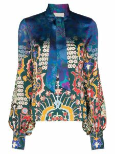 Peter Pilotto tie neck floral print silk blouse - Blue/Emerald