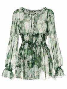 Dolce & Gabbana white geranium printed peasant blouse - Green